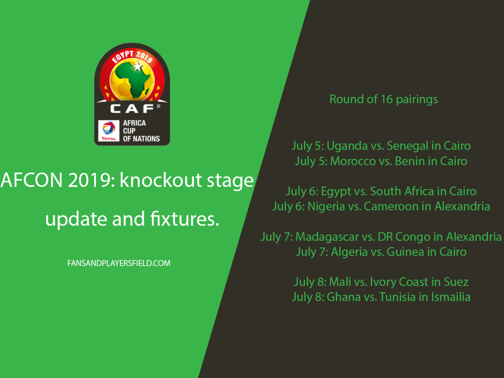 AFCON 2019: knockout stage update and fixtures  - Fans And Players Field