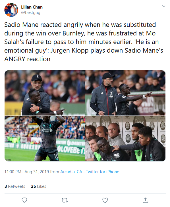 Sadio Mane reacted angrily when he was substituted during the win over Burnley