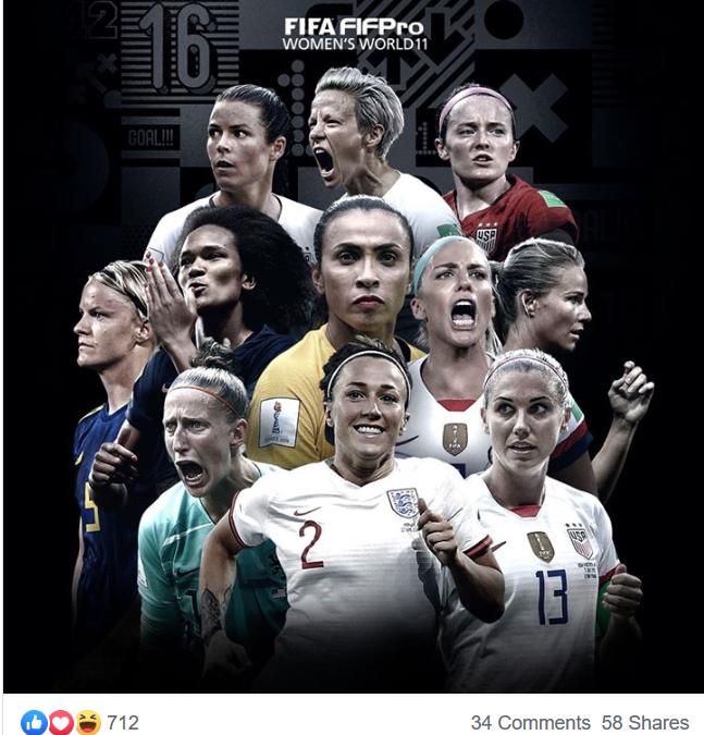 FIFPro Women's World11 🙌 🇳🇱 Van Veenendaal, 🇫🇷 Renard, 🏴 Bronze, 🇺🇸 O'Hara, Fischer, 🇫🇷 Henry, 🇺🇸 Lavelle, 🇺🇸 Ertz, 🇺🇸 Morgan, 🇺🇸 Rapinoe, 🇧🇷 MaRTA