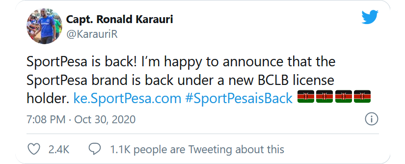 SportPesa makes a resounding return, Chief Executive Ronald Karauri announced they have resumed operations.